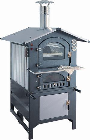 Печь на дровах хлебопекарная с серой крышей