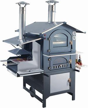 Печь на дровах с барбекю