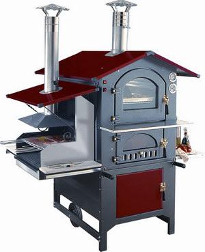 Печь на дровах с барбекю с красной крышей