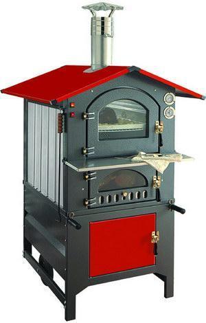 Печь на дровах хлебопекарная с красной крышей